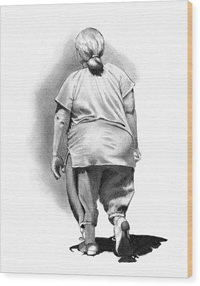 Woman Strolling In Sunshine Wood Print by Joyce Geleynse