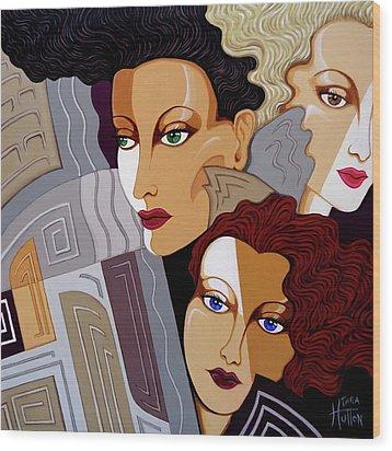 Woman Times Three Wood Print