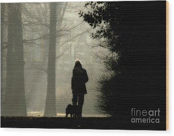 Wood Print featuring the photograph Woman Walking Dog by Patricia Hofmeester