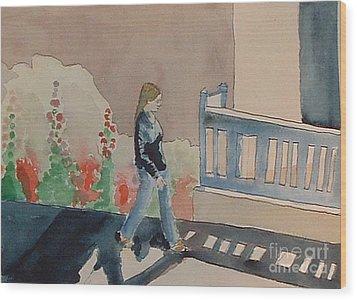 Woman Walking Down Nusbaum Street Wood Print