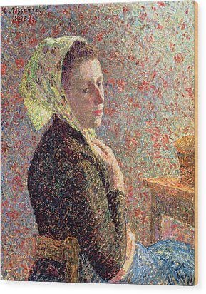 Woman Wearing A Green Headscarf Wood Print by Camille Pissarro