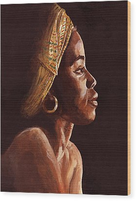 Woman Wearing Scarf Wood Print by Dorothy Riley