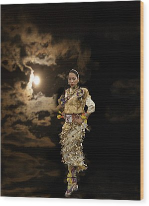 Woman Who Dances With Moon Wood Print by Irma BACKELANT GALLERIES