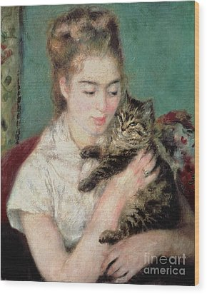 Woman With A Cat Wood Print by Pierre Auguste Renoir