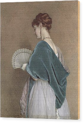 Woman With A Fan Wood Print by John Dawson Watson
