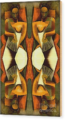 Woman With A Fan X4 Wood Print
