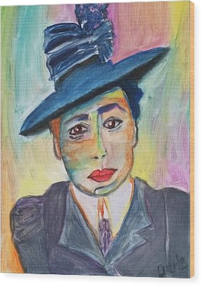 Woman With A Hat Wood Print by Carol Duarte