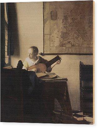 Woman With A Lute Wood Print by Jan Vermeer