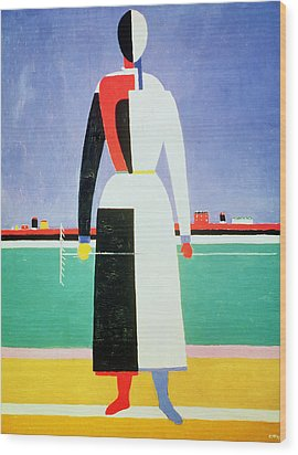 Woman With A Rake Wood Print by Kazimir Severinovich Malevich