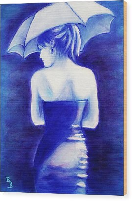 Wood Print featuring the painting Woman With An Umbrella Blue by Bob Baker