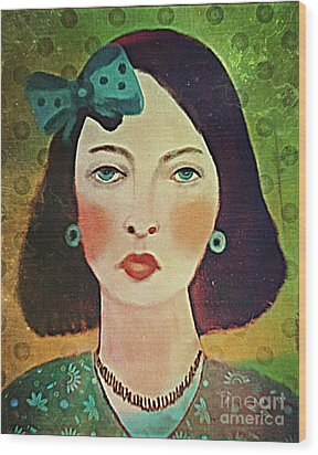 Woman With Blue Hair Bow Wood Print