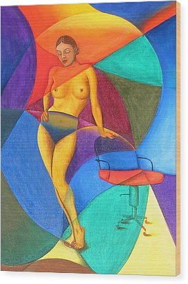 Woman With Chair Wood Print by Mak Art