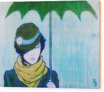 Wood Print featuring the painting Woman With Green Umbrella by Bob Baker