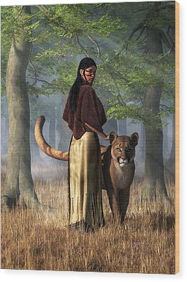 Wood Print featuring the digital art Woman With Mountain Lion by Daniel Eskridge