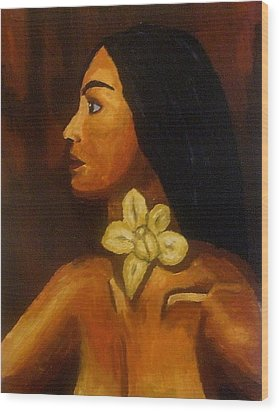 Woman With Orchid Wood Print by Mats Eriksson