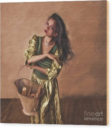 Woman With Pail  ... Wood Print by Chuck Caramella
