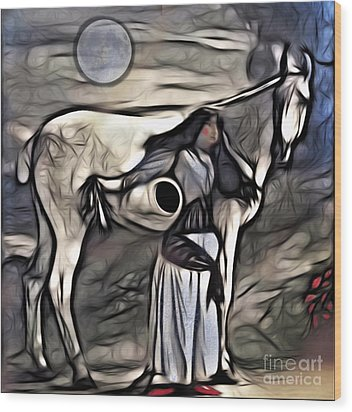 Woman With White Horse Wood Print