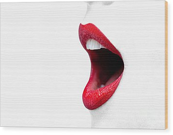 Womans Mouth Wide Open With Red Lipstick. Wood Print by Richard Thomas