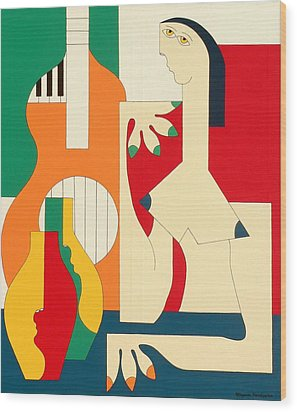 Women And Music Wood Print by Hildegarde Handsaeme