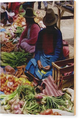 Wood Print featuring the painting Women At The Market by Shelley Bain