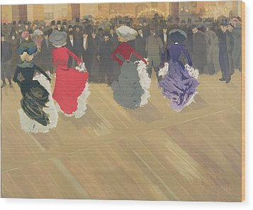 Women Dancing The Can Can Wood Print by Abel Truchet