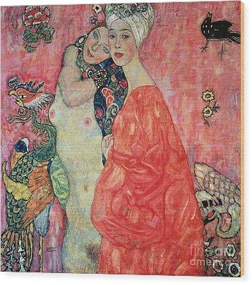 Women Friends Wood Print by Gustav Klimt