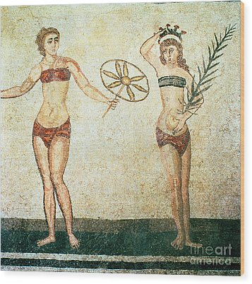Women In Bikinis From The Room Of The Ten Dancing Girls Wood Print by Roman School
