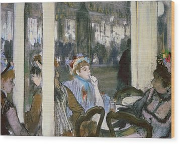 Women On A Cafe Terrace Wood Print by Edgar Degas