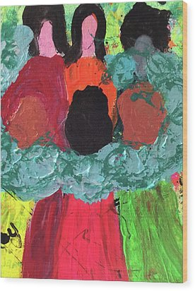 Wood Print featuring the painting Women Together With Teal by Annette McElhiney