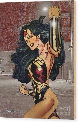 Wonder Woman Wood Print by Bill Richards