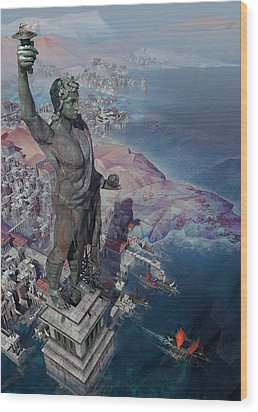 wonders the Colossus of Rhodes Wood Print
