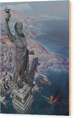 Wood Print featuring the digital art wonders the Colossus of Rhodes by Te Hu