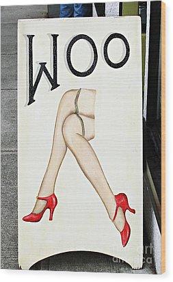 Woo Wood Print by Ethna Gillespie