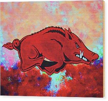 Woo Pig Sooie 3 Wood Print by Belinda Nagy