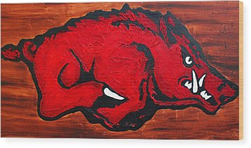 Wood Print featuring the painting Woo Pig Sooie by Laura  Grisham