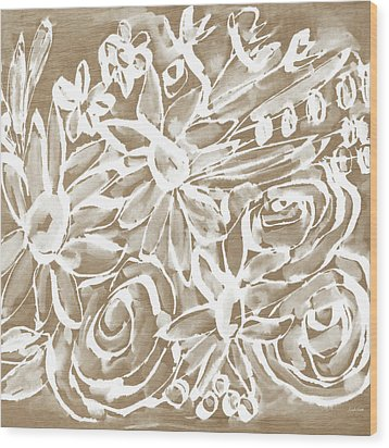 Wood And White Floral- Art By Linda Woods Wood Print by Linda Woods