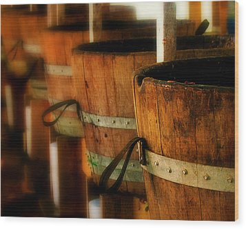 Wood Barrels Wood Print by Perry Webster