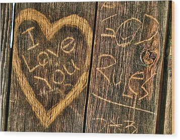 Wood Carving Graffiti Wood Print by Connie Cooper-Edwards