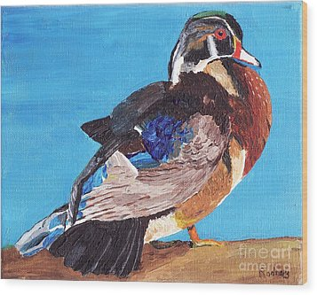 Wood Print featuring the painting Wood Duck by Rodney Campbell