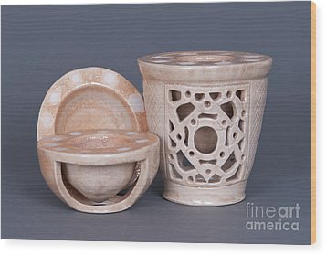 Wood Fired Ceramics Wood Print by Tracy Pickett