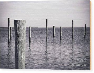 Wood Print featuring the photograph Wood Pilings In Monotone by Colleen Kammerer