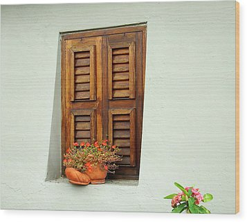 Wood Print featuring the photograph Wood Shuttered Window, Island Of Curacao by Kurt Van Wagner