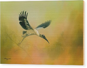 Wood Print featuring the photograph Wood Stork Encounter by Marvin Spates