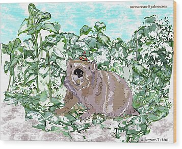 Woodchuck Chuck Wood Print by Susie Morrison