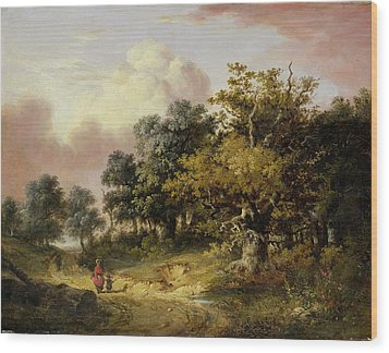 Wooded Landscape With Woman And Child Walking Down A Road  Wood Print by Robert Ladbrooke