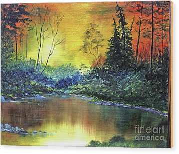 Wooded Serenity Wood Print by Dee Flouton