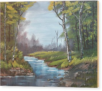 Wooded Stream Wood Print by Larry Hamilton