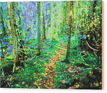 Wooded Trail Wood Print by Dave Martsolf