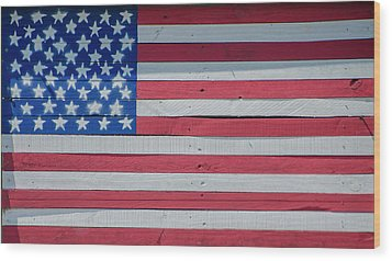 Wood Print featuring the photograph Wooden American Flag by Bill Cannon