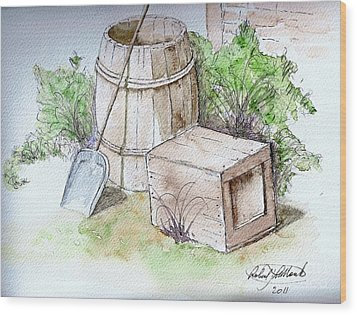 Wooden Barrel And Crate Wood Print